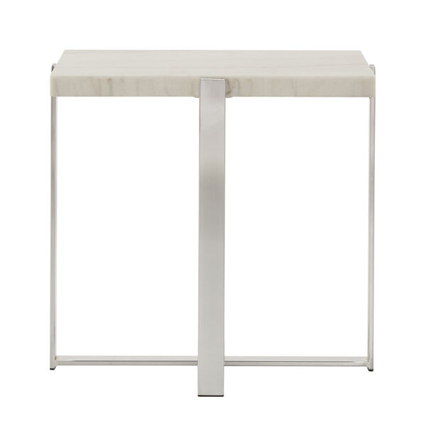 Diana Chrome Marble Top Framed End Table, image 2